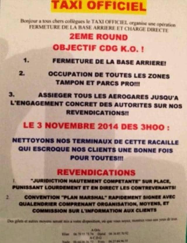 Grève taxis le 4 novembre 2014