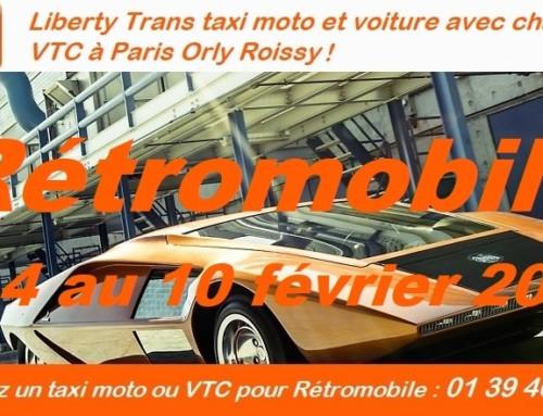 Rétromobile 2019 en VTC et taxi moto à Paris de Liberty Trans