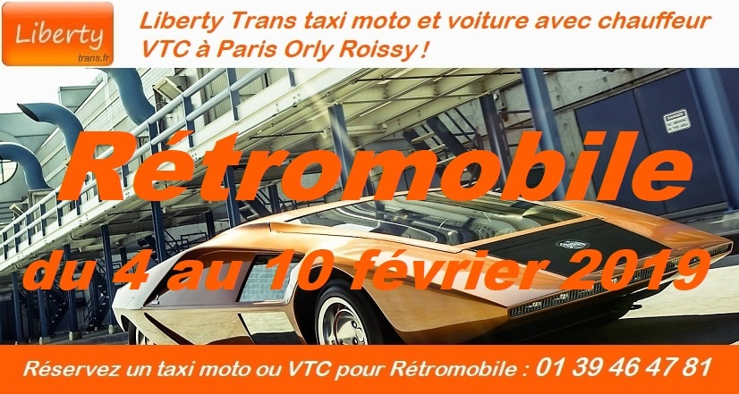 Liberty Taxi moto Paris VTC Retromobile 2019
